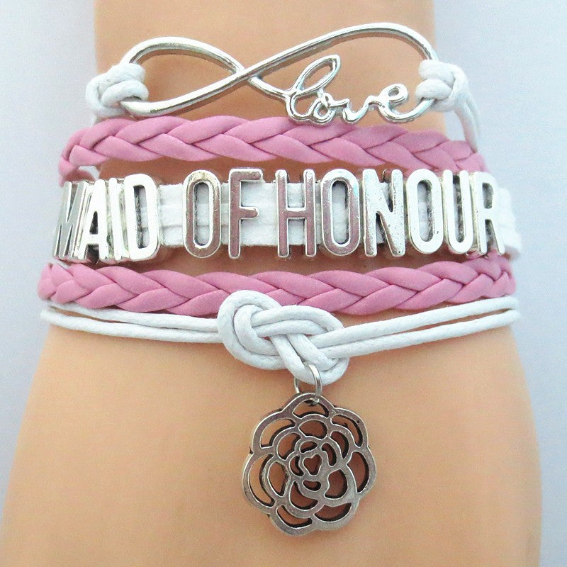 FREE Infinity Love (PINK) Maid of Honor Bracelet - Hand Made Leather Strap Wrap