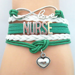 Infinity Love Nurse - Hand Made Leather Strap Bracelet - 50% Off
