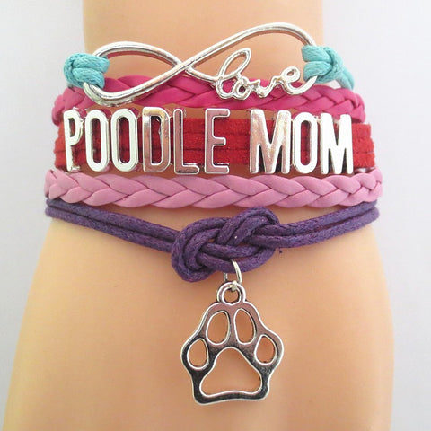 Infinity Love Poodle Mom Bracelet - Hand Made Leather Strap Wrap