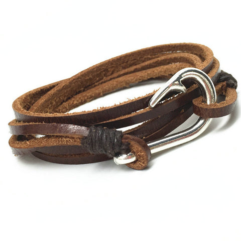 Handmade Multilayer Punk Vintage Fish Hook Charm Brown Genuine Leather Bracelet
