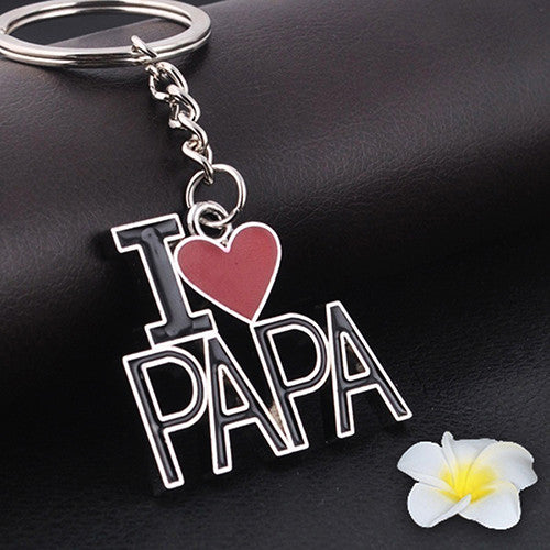 I LOVE PAPA Pendant Gift Keychain - Keyring  for Father's Dad