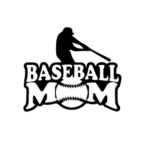 "Baseball Mom Vinyl Sticker for Cars - 6"" x 5 1/8"" - Black or White Vinyl"