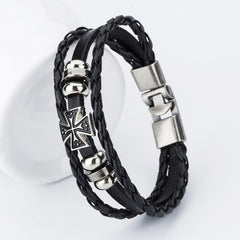 Anchor Bracelets Handmade Black Leather Fish Hooks for Men