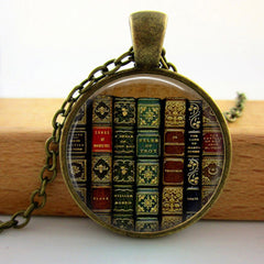 Collares Collier Library Bookcase Necklace vintage Style