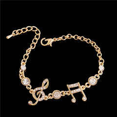 Gold Color Musical Notes Bracelet Crystal Zircon Charm Bracelet For Women Jewelry