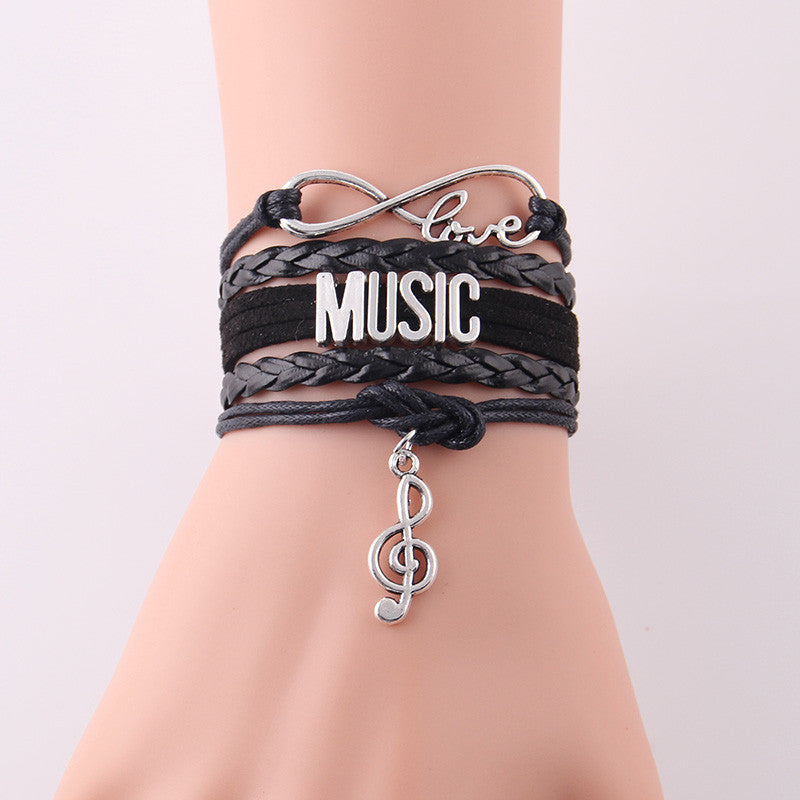 Infinity Love Music Bracelet Note Charm Leather Wrap Bracelets & Bangles for Women Jewelry