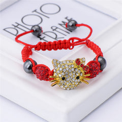 Cute Handmade Cat Hello Kitty Bracelet for - Shamballa Beads Connected Braid Charm bracelet