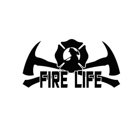 Fire Life - Fireman Firefighter Vinyl Decal EMT Medic FD Car Stickers Black or Silver 20.3CM*9.9CM