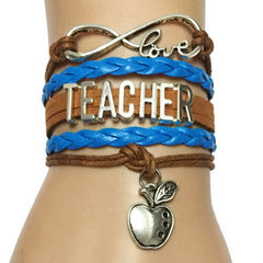 Infinity Love Teacher Apple Charm Bracelet