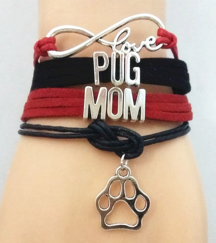 Infinity Love Pug Mom Bracelet - Dog Lover Gift