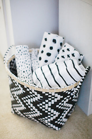 black and white swaddle blankets from modern burlap and land of nod
