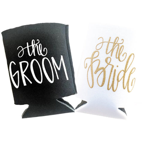 Bride and Groom Can Cooler Set