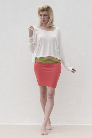 Audrey Skirt - Lime Green with Coral
