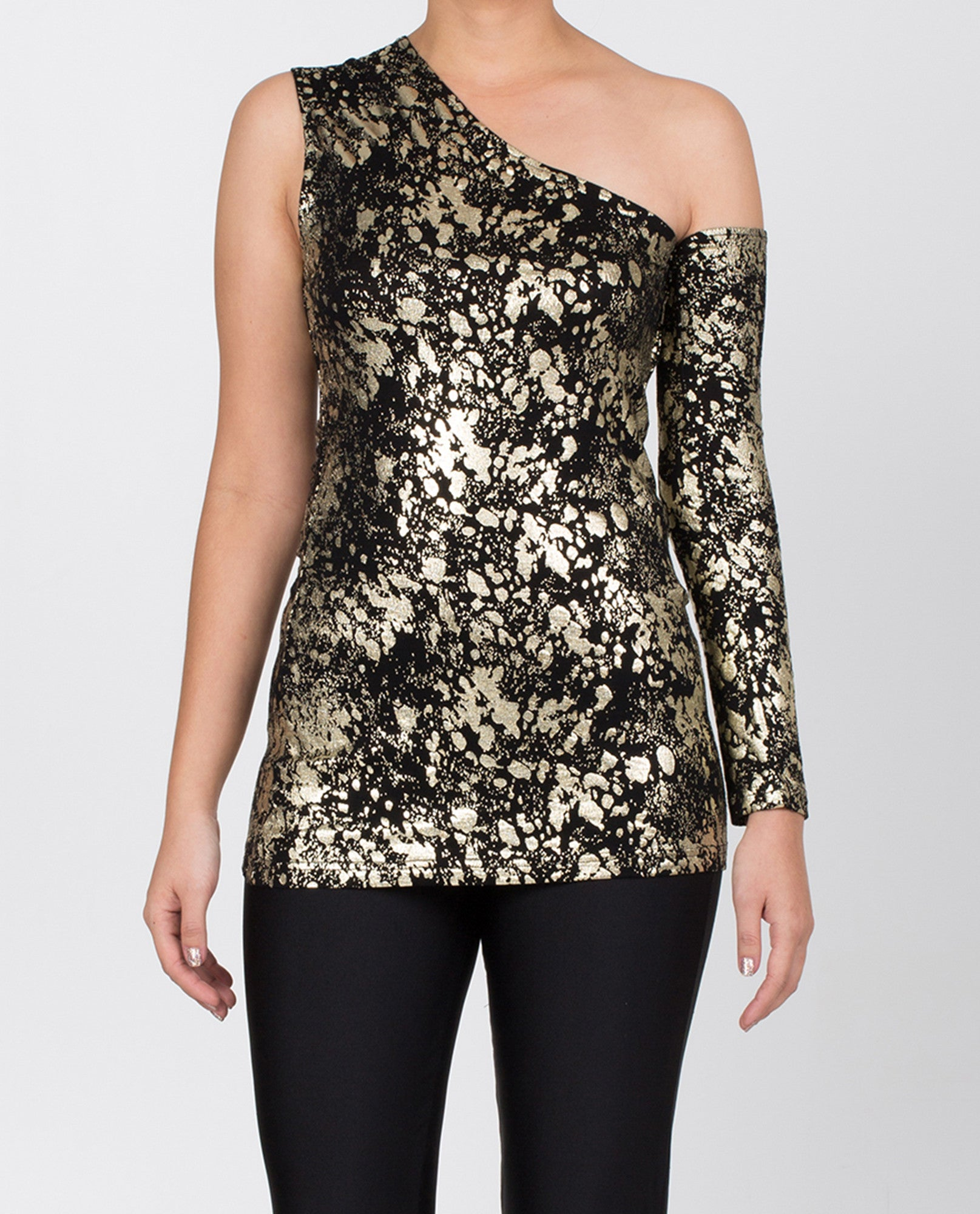 Caroline One-Shoulder - Black / Gold