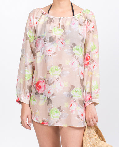 Gypsy Blouse - Roses on Pink Silk/Cotton Voile