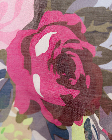 Shorts - Roses on Blue Silk/Cotton Voile