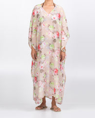 Kaftan Long V-neck - Roses on Pink Silk/Cotton Voile