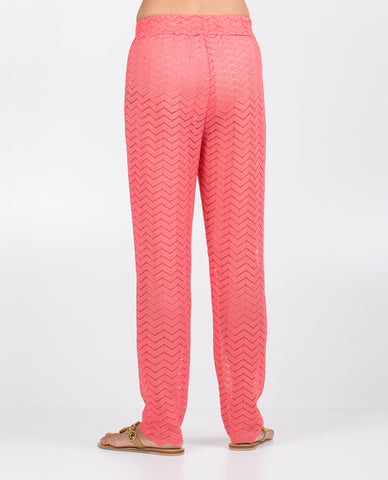 Pants - Solid Coral Zigzag Band Pattern