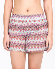 Shorts - Multi Aqua Zigzag Knit Pattern
