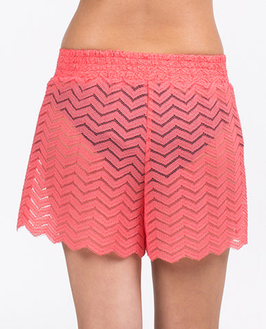 Shorts - Solid Coral Zigzag Band Pattern