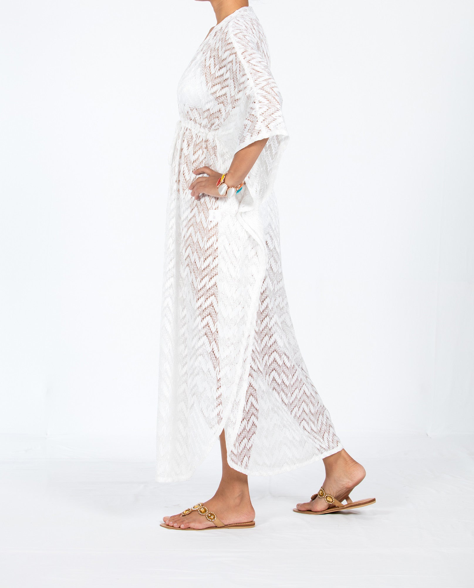 Zigzag Kaftan Long Empire - Solid White