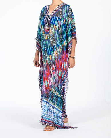 Indian Inspired Kaftan Long Lace-up - Multi Blue / Pink Tribal Motif