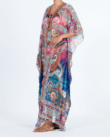 Indian Inspired Kaftan Long Lace-up - Multi Colored Paisley Pattern
