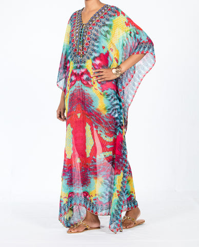Indian Inspired Kaftan Long Lace-up - Multi Pink / Turquoise Tie-Dye