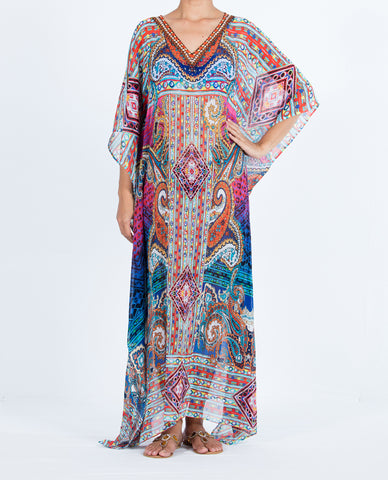 Indian Inspired Kaftan Long V-neck - Multi Colored Paisley Pattern