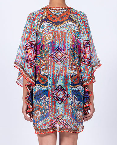 Indian Inspired Short Curved Hem Kaftan - Multi Colored Paisley Pattern
