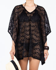 Zigzag Kaftan Short V-neck - Solid Black