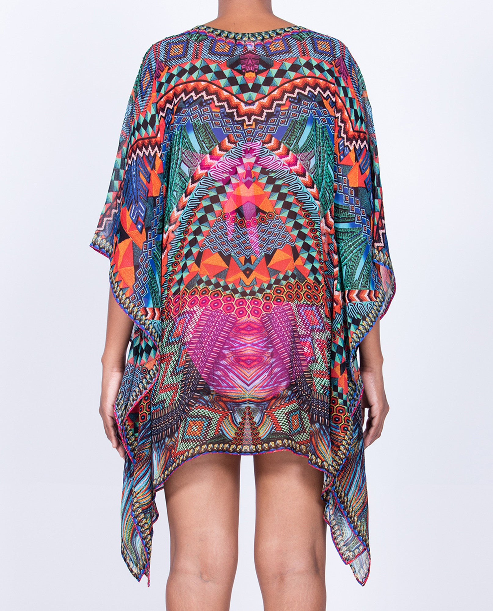 Indian Inspired Kaftan Short V-neck - Multi Orange / Blue Geometric Border Print