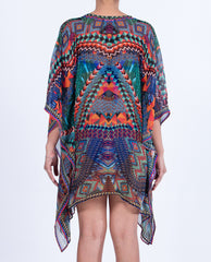 Indian Inspired Kaftan Short Lace-up - Multi Orange / Blue Geometric Border Print