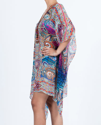 Indian Inspired Kaftan Short Lace-up - Multi Colored Paisley Pattern