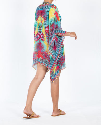 Indian Inspired Kaftan Short Lace-up - Multi Pink / Turquoise Tie-Dye