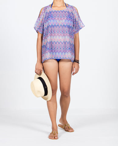 Short Top Open Shoulder - Multi Blue
