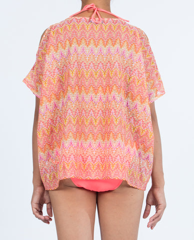 Short Top Open Shoulder - Multi Orange