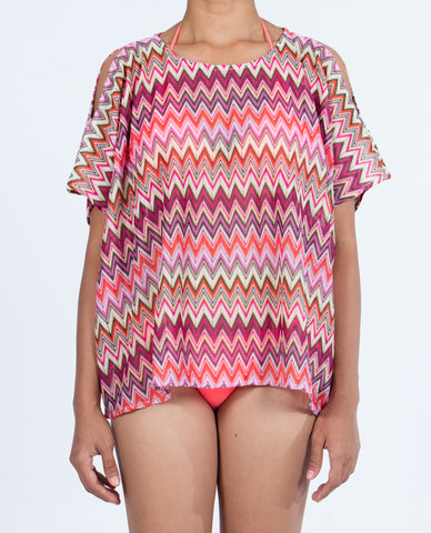 Short Top Open Shoulder - Multi Red