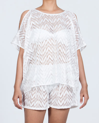 Short Top Open Shoulder - Solid White
