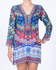 Indian Inspired Tunic Lace-up V-neck - Multi Blue / Pink Tribal Motif