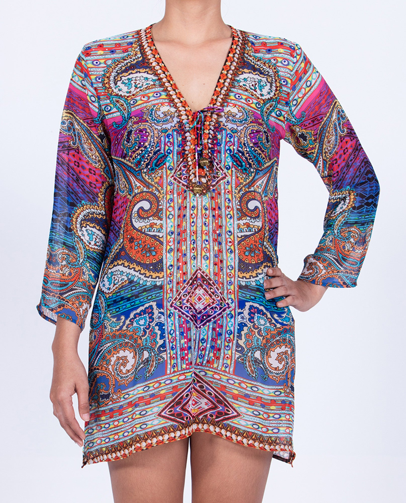 Indian Inspired Tunic Lace-up V-neck - Multi Colored Paisley Pattern