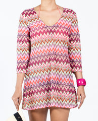 Zigzag Tunic Dress - Multi Red