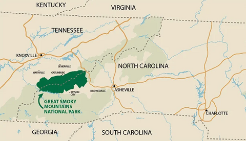 Great Smoky Mountain National Park Map | The Cabin Shack