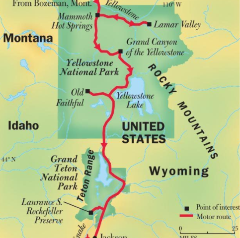 Yellowstone National Park and Grand Teton National Park Map