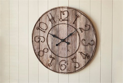 Cabin Decor - Pieced Wood Clock Key Numbers - The Cabin Shack