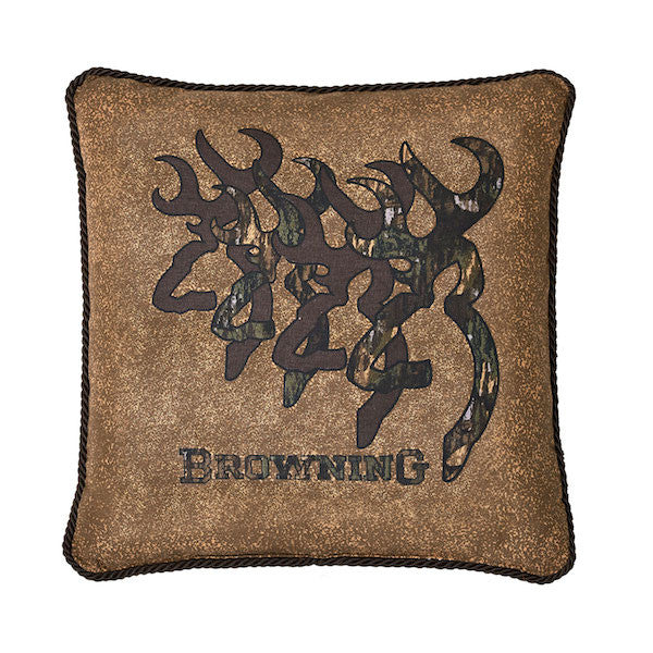 3D Browning Buckmark Tan Throw Pillow | The Cabin Shack
