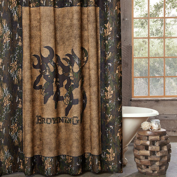 Browning 3D Buckmark Shower Curtain | The Cabin Shack