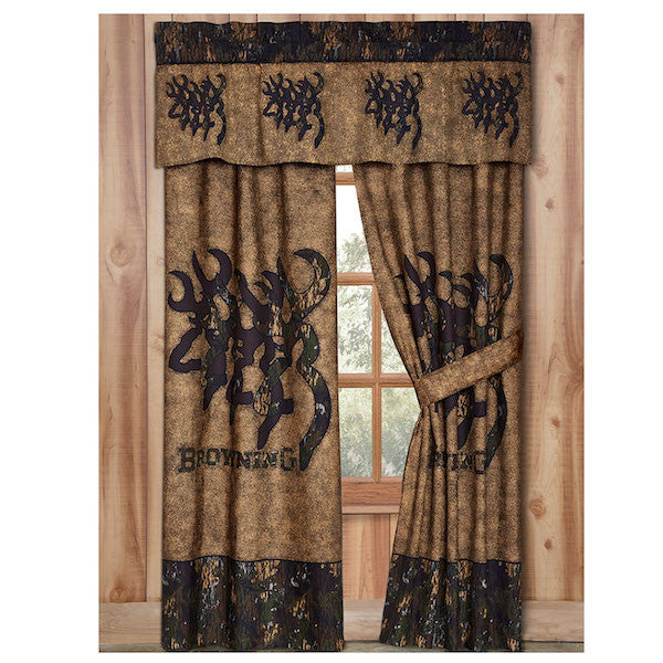 Browning 3D Buckmark Window Curtains | The Cabin Shack