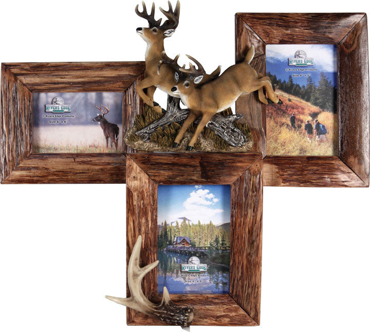 Cabin Decor - 3 Picture Deer Firwood Frame - The Cabin Shack