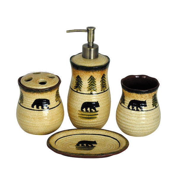 4 PC Bear Bathroom Set By HiEnd Accents | The Cabin Shack
